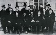 Group photo of the Avanti! editorial staff, 1921. Scalarini is the last one standing on the right, in front of him is Giuseppe Romita, in the middle the third one sitting from the left is Pietro Nenni.
